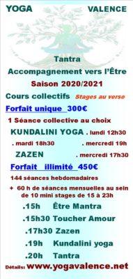 Horaires yoga valence cours collectifs hebdomadaires et mensuels